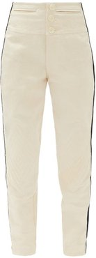 Side-stripe Surplus-cotton Trousers - Womens - Ivory