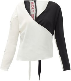Race Silk Wrap Top - Womens - Black White