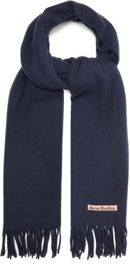 Canada New Fringed Wool Scarf - Mens - Navy