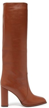 Knee-high Leather Boots - Womens - Tan