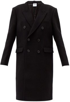 Double-breasted Wool-blend Coat - Womens - Black