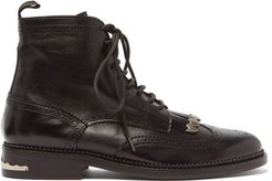 Tasselled Lace-up Leather Boots - Mens - Black