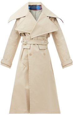 Patter Double-breasted Cotton Trench Coat - Womens - Beige