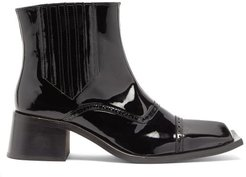 Square-toe Patent-leather Boots - Mens - Black