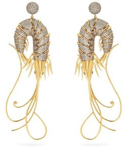 Shrimp Cubic Zirconia & Gold-plated Drop Earrings - Womens - Crystal