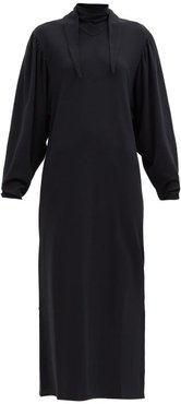 Scarf-neck Cotton Midi Dress - Womens - Black