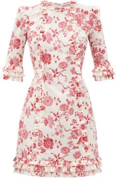 The Cate Floral-print Ruffled Cotton Mini Dress - Womens - Red White