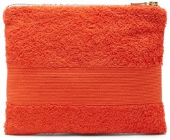 Zipped Cotton-terry Pouch - Womens - Orange