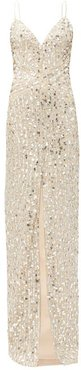 Sequinned Sweetheart-neckline Tulle Dress - Womens - Silver