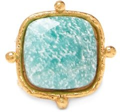 Amazonite Gold-plated Ring - Womens - Gold
