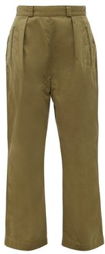 Sulfur Pleated Cotton-twill Trousers - Womens - Khaki