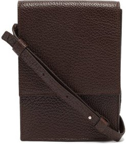 Satchel Small Grained-leather Bag - Mens - Dark Brown