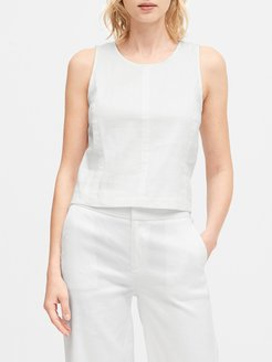 Linen-Cotton Cropped Shell