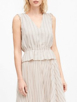 Ruched Cropped Peplum Top