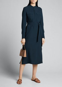 Silk Button-Front Shirtdress