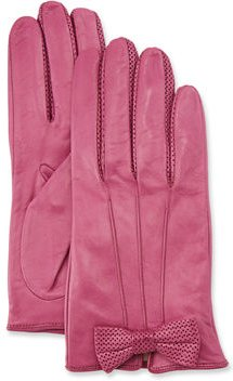 Napa Leather Gloves w/ Perforated Bow