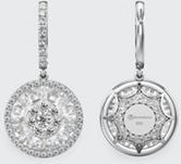18k White Gold 13mm Halo Drop Earrings w/ Diamonds