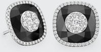 18k White Gold 13mm Cushion-Cut Stud Earrings w/ Diamonds