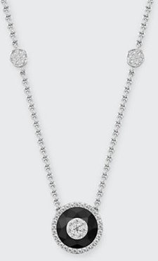 18k White Gold 10mm Halo Pendant Necklace w/ Diamonds