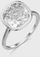 18k White Gold 10mm Cushion Ring w/ Diamonds, Size 6.5