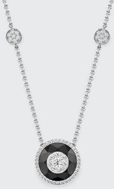 18k White Gold 13mm Halo Pendant Necklace w/ Diamonds