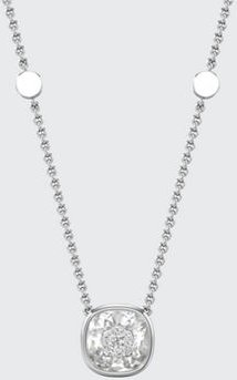 18k White Gold 10mm Cushion Pendant Necklace w/ Diamonds