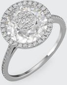 18k White Gold 10mm Halo Ring w/ Diamonds, Size 6.5