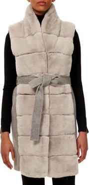 Belted Reversible Rabbit Fur Vest w/ Wool Back