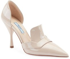 Two-Piece Patent Leather Point-Toe Loafer Pumps