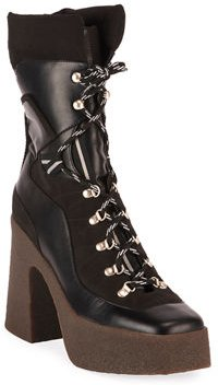 Chunky Gum-Heel Lace-Up Boots