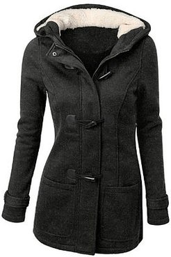 Hooded Patch Pocket Plain Woolen Coat sale, online sale, leather jacket, spring jacket womens