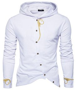 Diagonal Buttons Embroidery Men Hoodie clothing stores, shop, Embroidery Men Hoodies,