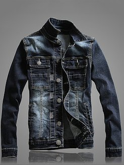 Denim Flap Pocket Ripped Light Wash Men Jacket online sale, fashion store,