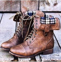 Plain Chunky Low Heeled Criss Cross Round Toe Casual Flat Boots stores and shops, fashion store,