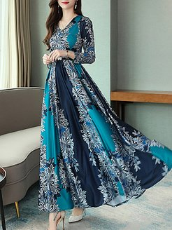 V-Neck Floral Printed Maxi Dress clothes shopping near me, cheap online shopping sites, floral Maxi Dresses, long black dress, casual maxi dresses