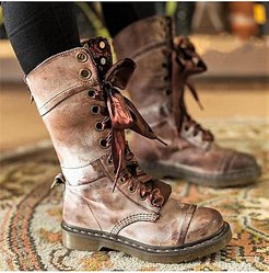 Plain Flat Round Toe Casual Outdoor Mid Calf Flat Boots shoppers stop, sale, plain Flat Boots,