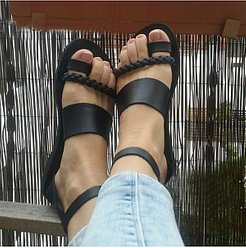 Plain Flat Peep Toe Casual Flat Sandals stores and shops, fashion store,
