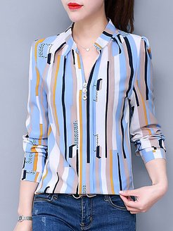 Polyester Turn Down Collar Printed Striped Long Sleeve Blouses shop, online, red top, dressy tops