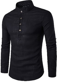 Band Collar Plain Roll-Up Sleeve Men Shirts stores and shops, clothing stores,