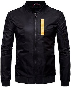 Band Collar Zips Letters Men Bomber Jacket sale, cheap online shopping sites,