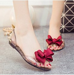 Color Block Flat Sheer Fabric Round Toe Casual Date Flat Sandals online, clothes shopping near me,