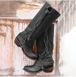 Plain Chunky Low Heeled Round Toe Casual Date Outdoor Knee High High Heels Boots stores and shops, online shop, Plain High Heels Boots,