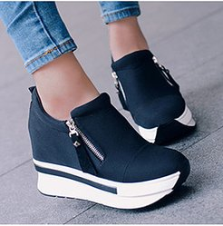 Plain High Heeled Elastic Round Toe Casual Sport Sneakers online, online shop,