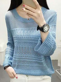 Round Neck Patchwork Elegant Plain Long Sleeve Knit Pullover stores and shops, shoppers stop, cashmere sweater, pullover sweater
