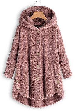 Hooded Decorative Buttons Plain Coat online, stores and shops, fall jackets, womens fashion jackets