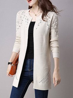 Collarless Snap Front Crochet Hollow Out Trench Coats shoping, sale, hollow Trench Coats,