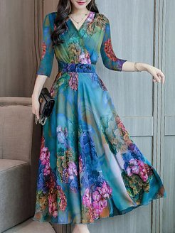 Abstract Style Print Dress Maxi Dres online sale, cheap online shopping sites, floral Maxi Dresses, black long sleeve dress, a line dress