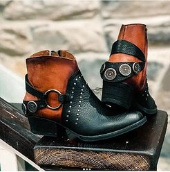 Colouring Chunky Round Toe Boots stores and shops, shoppers stop,