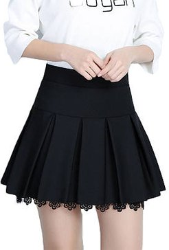 Inverted Pleat Plain A-Line Mini Skirt With Underpant shoping, stores and shops,