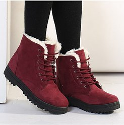 Plain Flat Velvet Criss Cross Round Toe Casual Date Outdoor Short Flat Boots stores and shops, clothing stores,